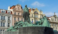 Jan Hus Memorial, Old Town Square, Prague Czech Republic