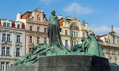 Jan Hus Memorial, Old Town Square, Prague Czech Republic