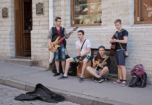 boy band on the streets of the Old Town, Tallinn Estonia