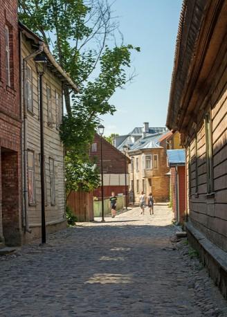 cooblestone street in Viljandi, Estonia