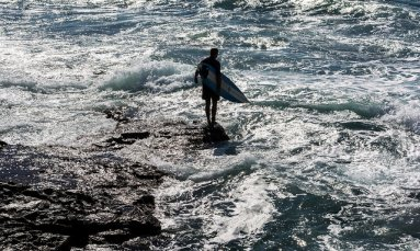 surfer and the Pacific Ocean, Newcastle Australia