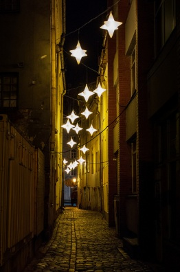 alley lights, Rozena iela, Old Town, Riga Latvia