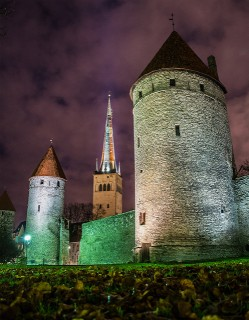 Kuldjala and Nunna towers, spire of St Olaf's Church, Tornide väljak, Tallinn Estonia