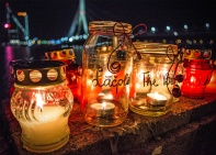 Lāčplēsis Day Candles by the Daugava River, Riga Latvia