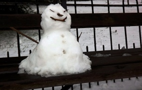 seated snowman, Dulwich Park U.K.