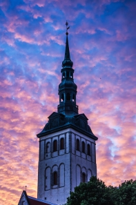 Spire of Niguliste Kirik at sunset, Old Town in Tallinn, Estonia