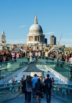 Dome of St Paul's Cathedral and the Millenium Bridge, London U.K.