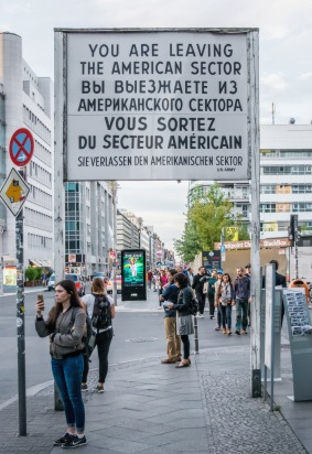 Replica signage at the site of Checkpoint Charlie, the US Allied crossing point in Soviet territory of the former East/West Berlin.